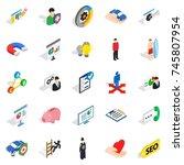 new workforce icons set.... | Shutterstock . vector #745807954