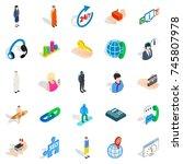 workforce icons set. isometric... | Shutterstock . vector #745807978