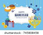 hanukkah banner design. menorah ...   Shutterstock .eps vector #745808458