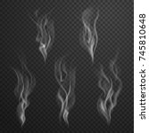 white cigarette smoke waves... | Shutterstock .eps vector #745810648