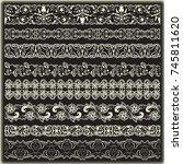 vintage border set for design    Shutterstock .eps vector #745811620