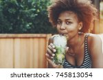 close up portrait of beautiful... | Shutterstock . vector #745813054