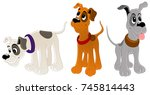hunting dogs. set of characters. | Shutterstock .eps vector #745814443