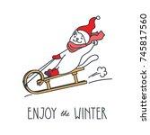 enjoy the winter. doodle vector ... | Shutterstock .eps vector #745817560