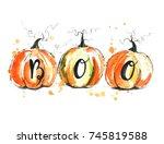 watercolor halloween pumpkins.   Shutterstock . vector #745819588