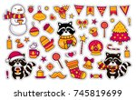 cute raccoons with coffee ... | Shutterstock .eps vector #745819699