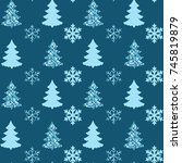 vector christmas pattern... | Shutterstock .eps vector #745819879