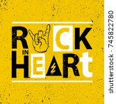 rock poster. rock in heart sign.... | Shutterstock .eps vector #745822780
