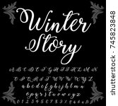 vector set of handwritten abc... | Shutterstock .eps vector #745823848