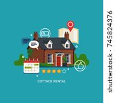cottage rental concept vector... | Shutterstock .eps vector #745824376