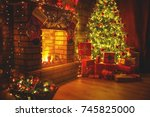interior christmas. magic... | Shutterstock . vector #745825000