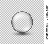 transparent glass sphere with... | Shutterstock .eps vector #745825384