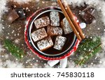 hot chocolate with marshmallows ... | Shutterstock . vector #745830118