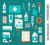 medical elements and objects .... | Shutterstock .eps vector #745830184