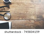 calculator  coffee and... | Shutterstock . vector #745834159