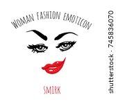 woman fashion emoticon  smirk.... | Shutterstock .eps vector #745836070