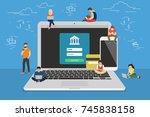 mobile banking concept... | Shutterstock . vector #745838158