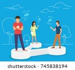 sharing data concept... | Shutterstock . vector #745838194