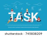 tasks concept vector... | Shutterstock . vector #745838209