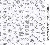 shopping thin line vector...   Shutterstock .eps vector #745839880