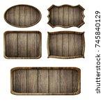 vintage wooden signboard... | Shutterstock . vector #745840129