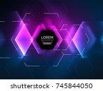 digital techno abstract... | Shutterstock .eps vector #745844050