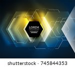digital techno abstract... | Shutterstock .eps vector #745844353