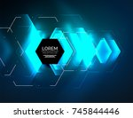 digital techno abstract... | Shutterstock .eps vector #745844446