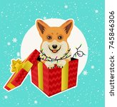 adorable corgi dog in christmas ... | Shutterstock .eps vector #745846306