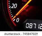 close up shot of a speedometer...   Shutterstock . vector #745847029