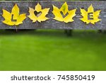 bright yellow maple leaves on... | Shutterstock . vector #745850419