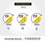 three yellow infographic spiral ...   Shutterstock .eps vector #745850929