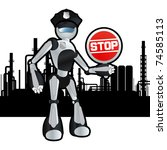 Animated construction site police officer robot illustration - stock vector