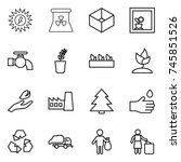 thin line icon set   sun power  ... | Shutterstock .eps vector #745851526