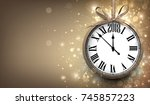 2018 new year sepia background... | Shutterstock .eps vector #745857223