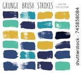brush strokes set backgrounds.... | Shutterstock .eps vector #745858084