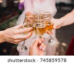 bride and bridesmaids clang... | Shutterstock . vector #745859578