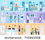 horizontal set of medical... | Shutterstock . vector #745863508