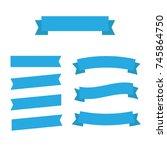flat ribbons banners flat... | Shutterstock . vector #745864750