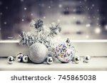christmas decorations over... | Shutterstock . vector #745865038