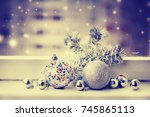 christmas decorations over... | Shutterstock . vector #745865113