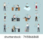 workers in office wear work... | Shutterstock . vector #745866868