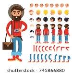 hipster cartoon character... | Shutterstock . vector #745866880
