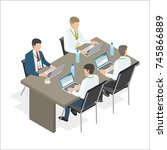 four office employees sit at... | Shutterstock . vector #745866889