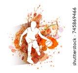 vector white silhouette of...   Shutterstock .eps vector #745869466