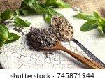 dried lavender  lavender salt... | Shutterstock . vector #745871944