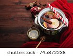 mulled wine from red dry wine ... | Shutterstock . vector #745872238