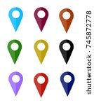 map pin icon   location sign....   Shutterstock . vector #745872778