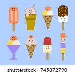 ice cream set. smiley face... | Shutterstock . vector #745872790