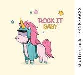 magic cartoon unicorn in... | Shutterstock .eps vector #745876633